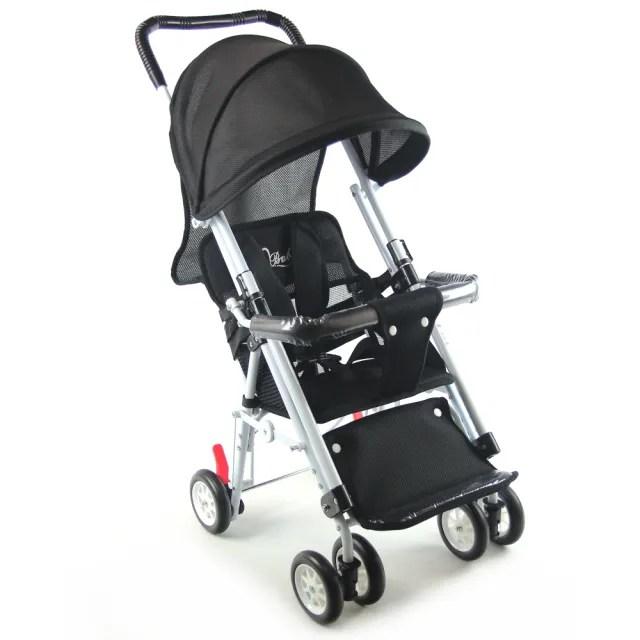 【S-Baby】第三代五點式安全帶輕便型推車-黑(可變座椅)