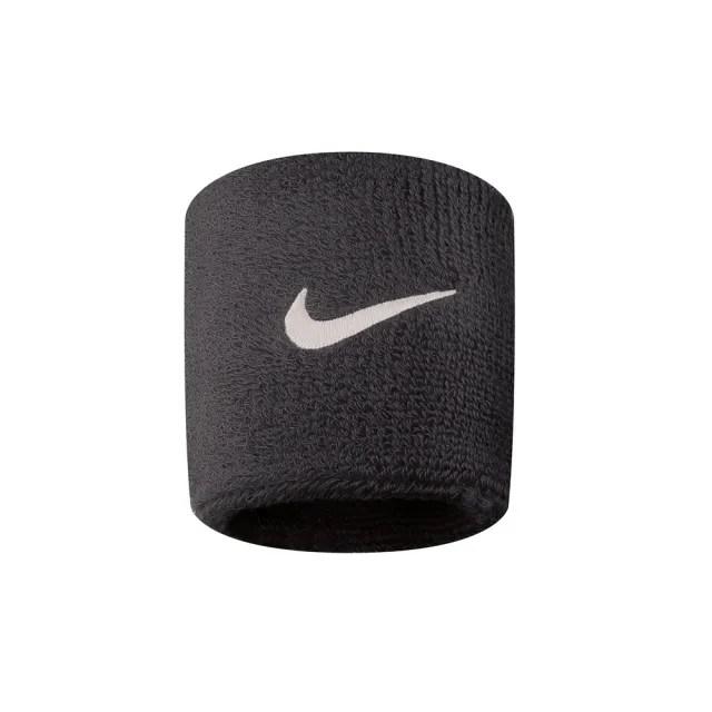 【NIKE 耐吉】Nike Swoohs 運動 打球 健身 單色 護腕 腕帶 吸濕 排汗 乾爽 2入 黑(NNN04010OS)