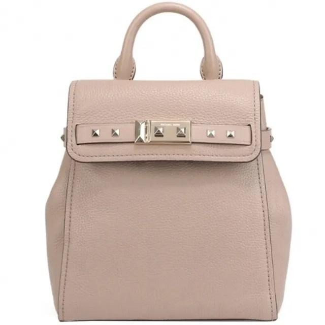 【Michael Kors】ADDISON專櫃款奶茶粉鉚釘皮革中款後背包
