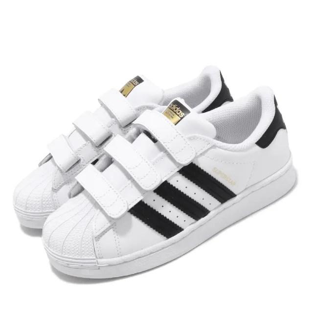【adidas 愛迪達 】童鞋 休閒鞋 Superstar CF C 魔鬼氈   愛迪達 三葉草 貝殼頭 金標 中童 白 黑(EF4838)