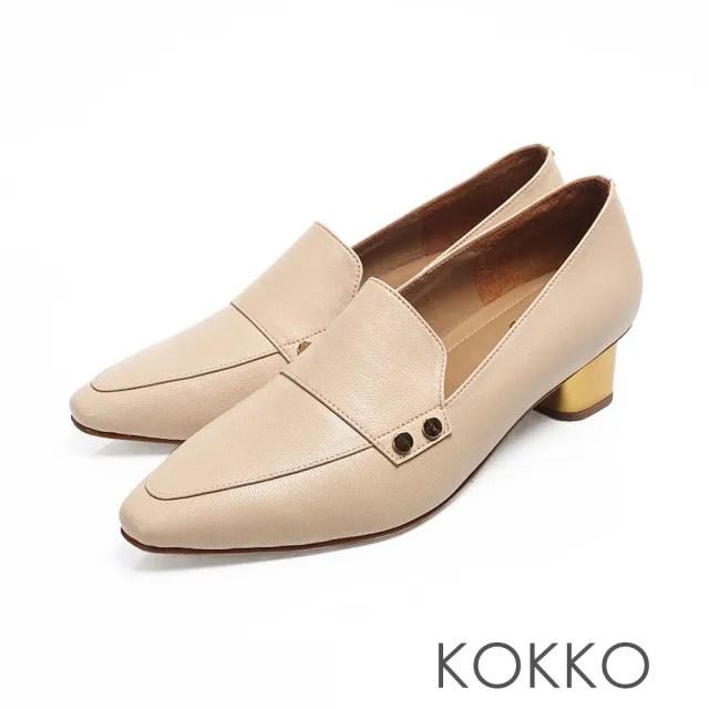 【KOKKO】小方頭柔軟感羊皮金屬粗跟鞋(米)