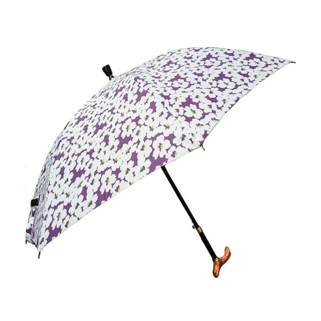 【Weiyi】調高式自動手杖傘 - 花朵繽紛(3段式高度調整)