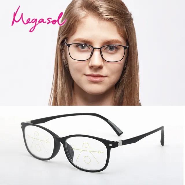 【MEGASOL】優質彈性TR鏡架年輕黑方框漸進多焦老花眼鏡(矩方大框中性款-PL096)