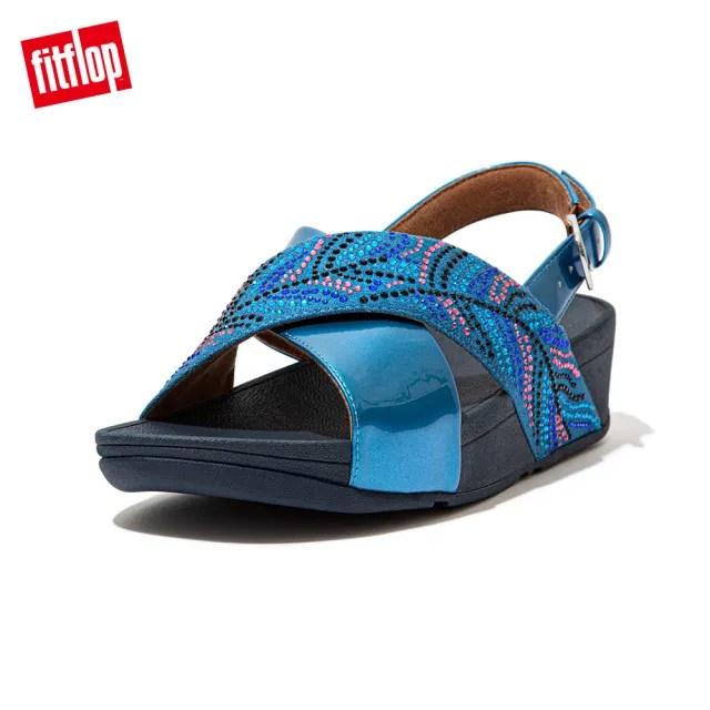 【FitFlop】LULU CRYSTAL FEATHER BACK-STRAP SANDALS 閃耀多色水鑽後帶涼鞋-女(海藍色)