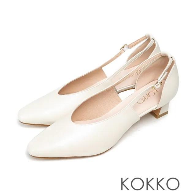 【KOKKO 集團】超柔軟綿羊皮尖頭鏤空繫帶跟鞋(霧米白)