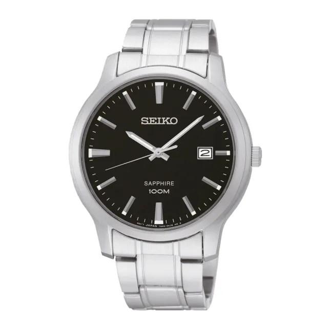 【SEIKO 精工】石英男錶 不鏽鋼錶帶 黑色 藍寶石鏡面(SGEH41P1)