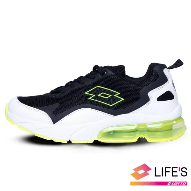 【LOTTO】運動鞋 兒童鞋  放膽玩色 FLOAT氣墊跑鞋(白黑綠-LT0AKR2205)