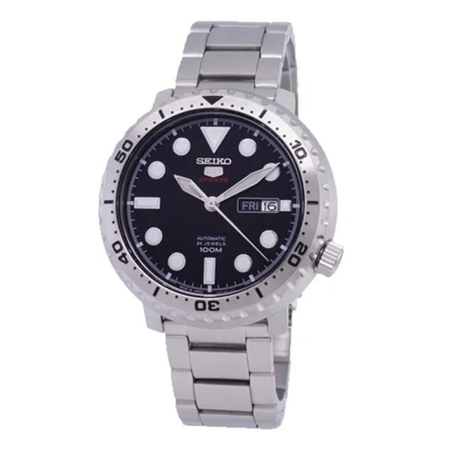 【SEIKO 精工】日製運動機械男錶 不鏽鋼錶帶 黑 防水100米(SRPC61J1)