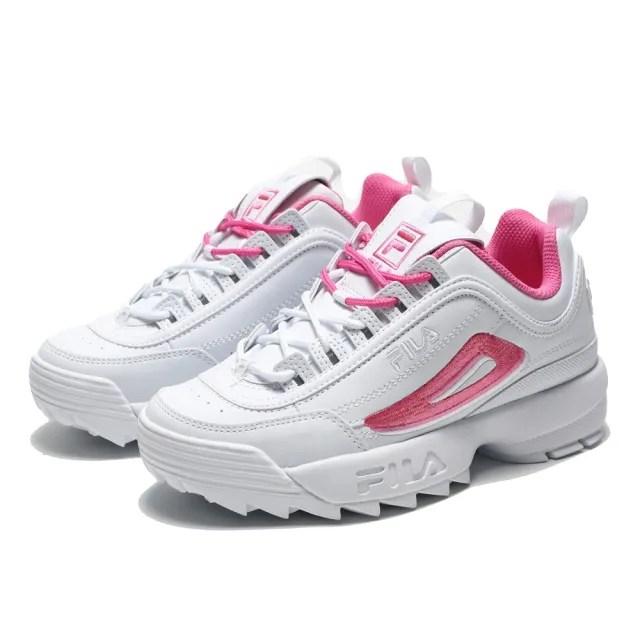 【FILA】休閒鞋 老爹鞋 白粉 皮革 刺繡 復古 DISRUPTOR 2A 女(4C113V112)