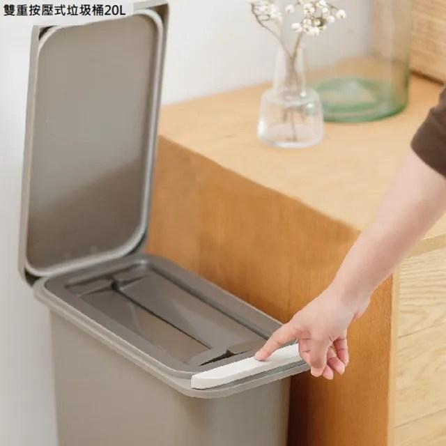 【日本 RISU】雙重防臭按壓式垃圾桶20L-棕色