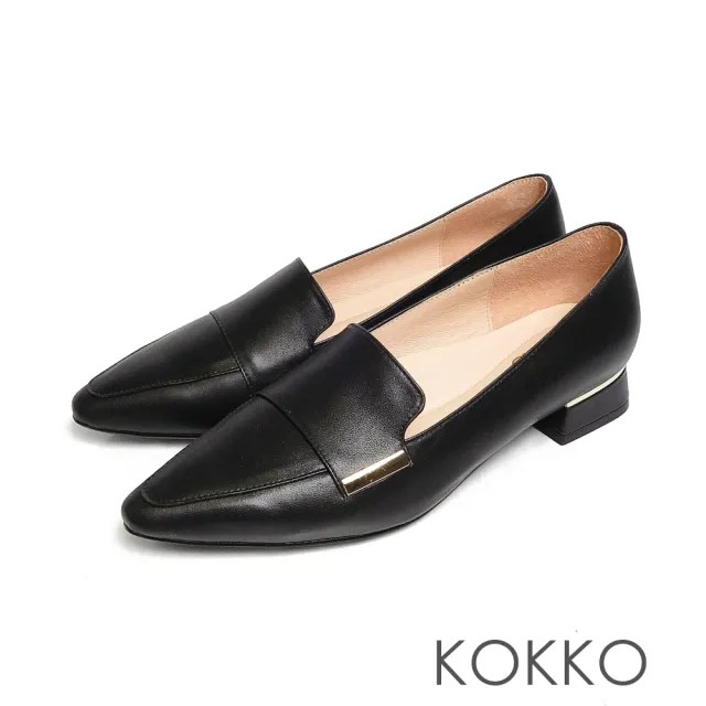 【KOKKO 集團】素面方頭舒壓真皮方塊粗跟鞋(黑色)