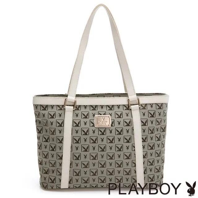 【PLAYBOY】手提包 半格兔系列(灰色)
