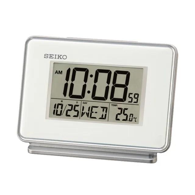 【SEIKO 精工】雙鬧鐘貪睡電子桌鐘(QHL068W)