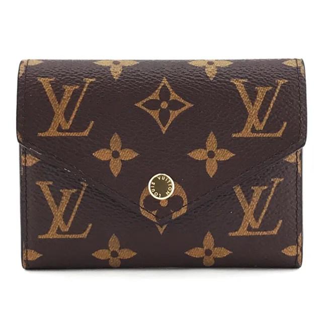 【Louis Vuitton 路易威登】LV M62472 Victorine系列Monogram帆布印花三折金釦信封短夾 棕色