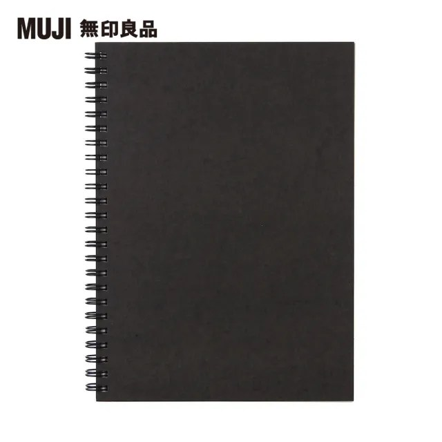 【MUJI 無印良品】雙環筆記本/空白/80張.A5.深灰