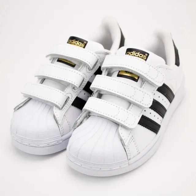 【adidas 愛迪達 】童鞋 童 經典款 休閒鞋 魔鬼氈 黑白粉綠(B26070&B32706&M20607)