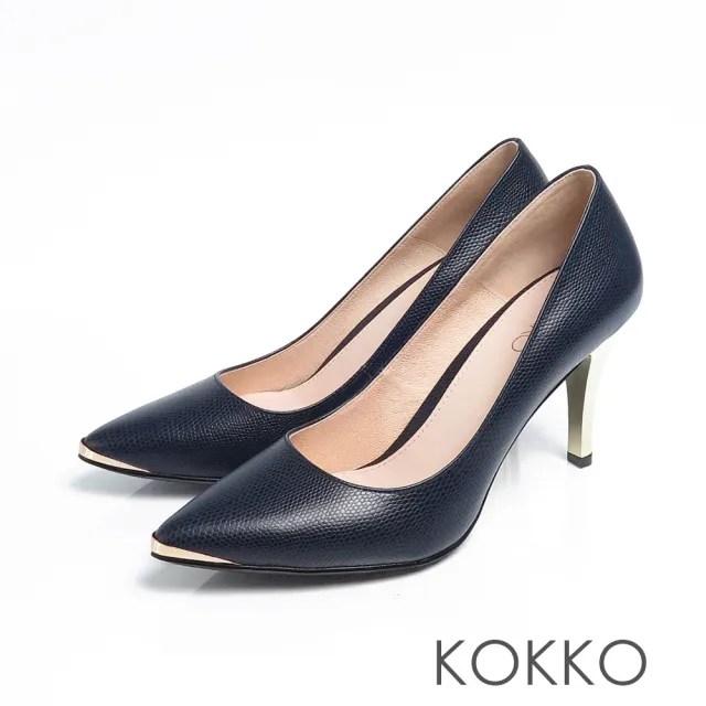 【KOKKO】女王尖頭鏡面高跟鞋(經典藍)