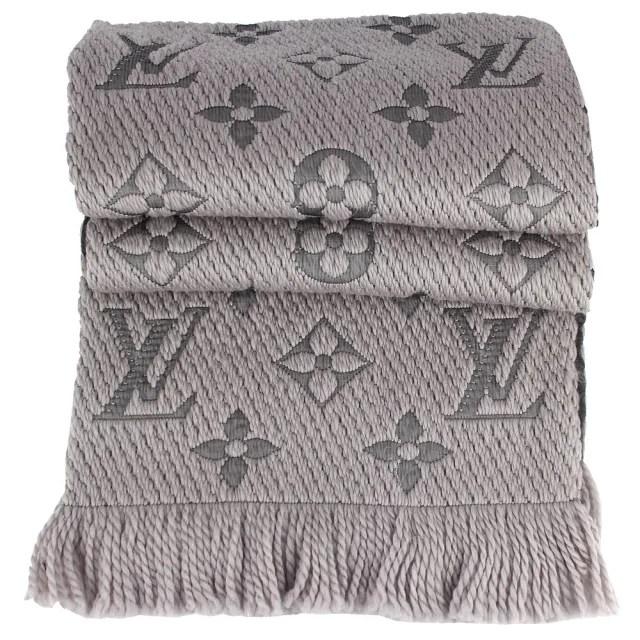 【Louis Vuitton 路易威登】Monogram 經典LV繡花紋混紡羊毛圍巾(M74742/灰色)