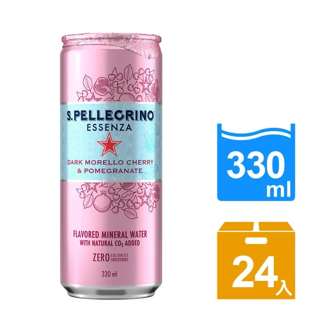 【S.Pellegrino 聖沛黎洛】零卡香氛氣泡飲-石榴櫻桃(330mlx24瓶)