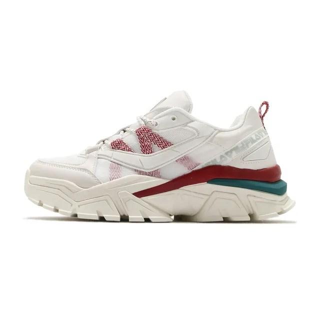 【FILA】休閒鞋 Z Buffer 2 厚底 男女鞋 斐樂 老爹鞋 穿搭 修飾 皮革 米 紅(4-C353V-236)
