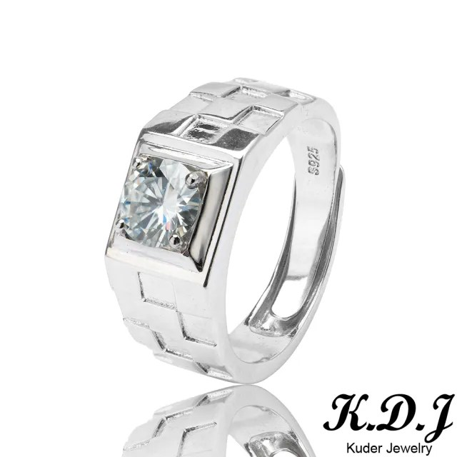 【K.D.J 圓融珠寶】莫桑石方格單鑽爪鑲款