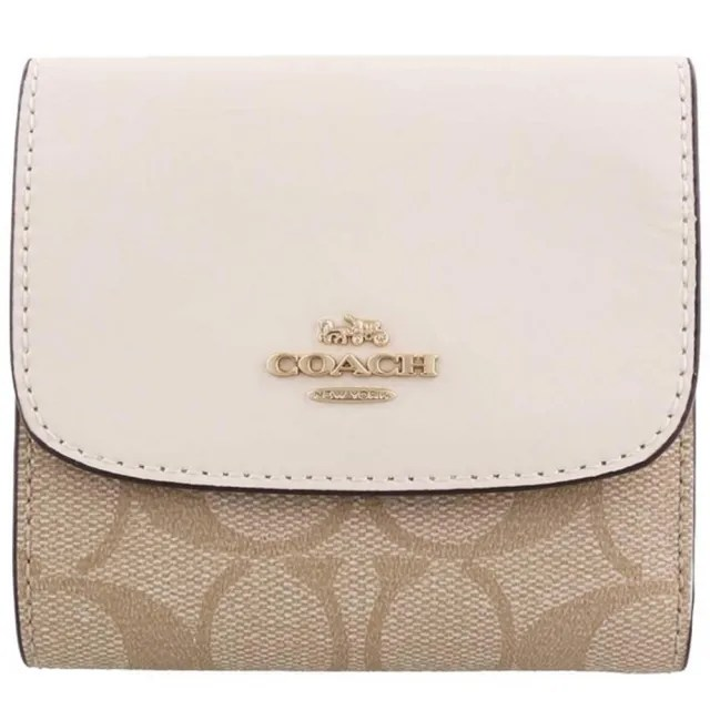 【COACH】白x卡其三折式PVC零錢袋短夾
