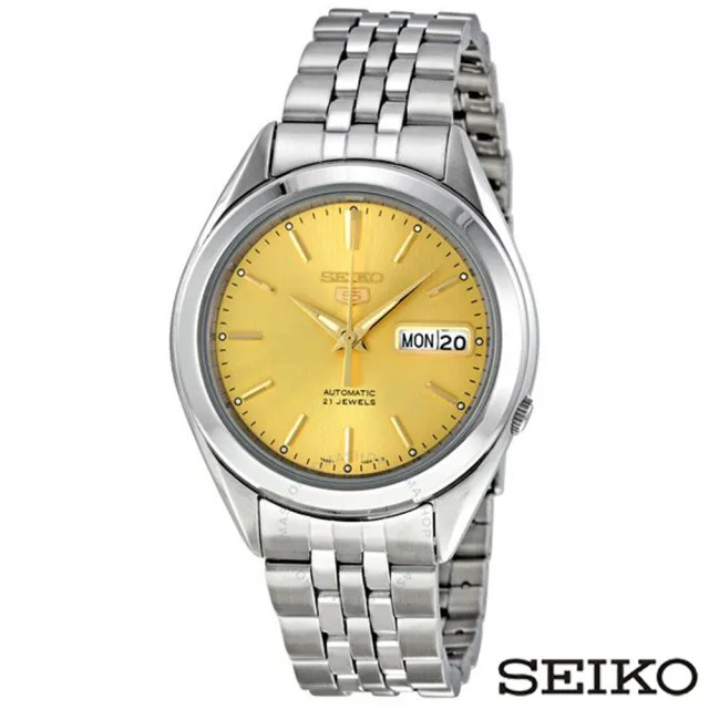 【SEIKO精工】精工5日本製造夜光香檳金錶盤不鏽鋼男士手錶(SNKL21J1)