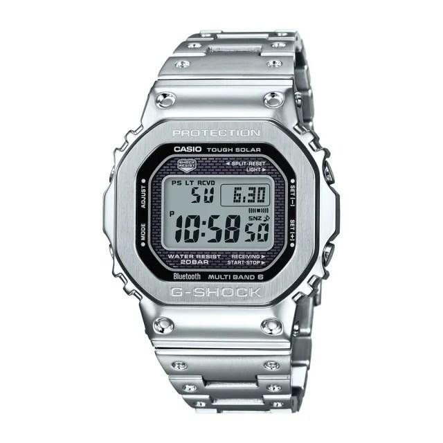 【CASIO 卡西歐】G-SHOCK電波藍牙電子錶GMW-B5000D-1(銀)