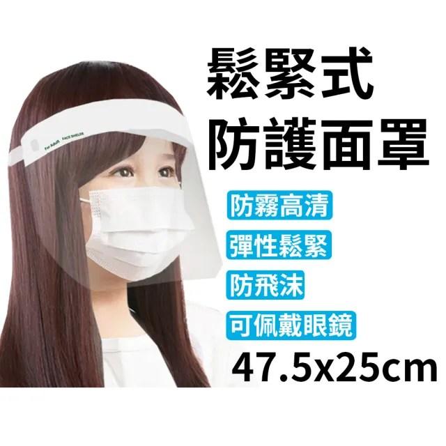 台灣製 鬆緊式防護面罩 47.5x25cm 可包覆耳後(2入1包)