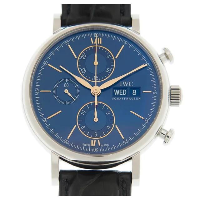 【IWC 萬國錶】Portofino柏濤菲諾經典計時皮帶款 x藍x42mm(IW391036)