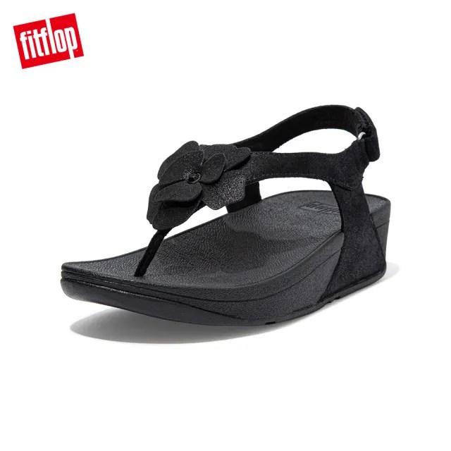 【FitFlop】LULU CORSAGE TOE-POST BACK-STRAP SANDALS 麂皮花朵後帶涼鞋-女(靓黑色)