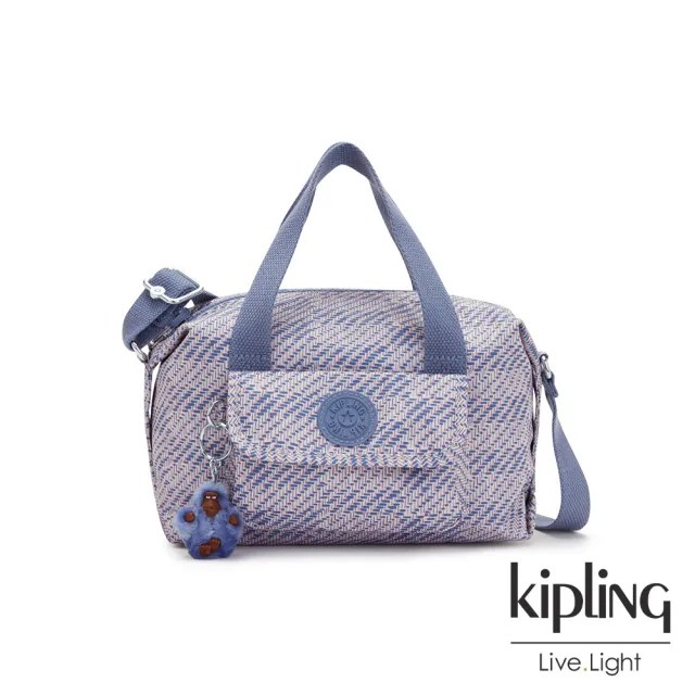 【KIPLING】斜紋軟呢丁香紫波士頓手提兩用包-BRYNNE