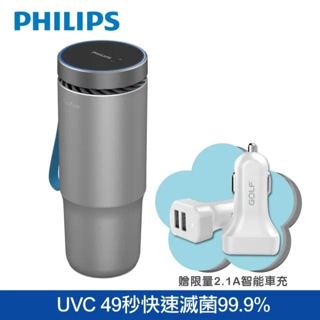 【Philips 飛利浦】PHILIPS 飛利浦多重防護美型車用除菌空氣清淨機GP5612星空銀