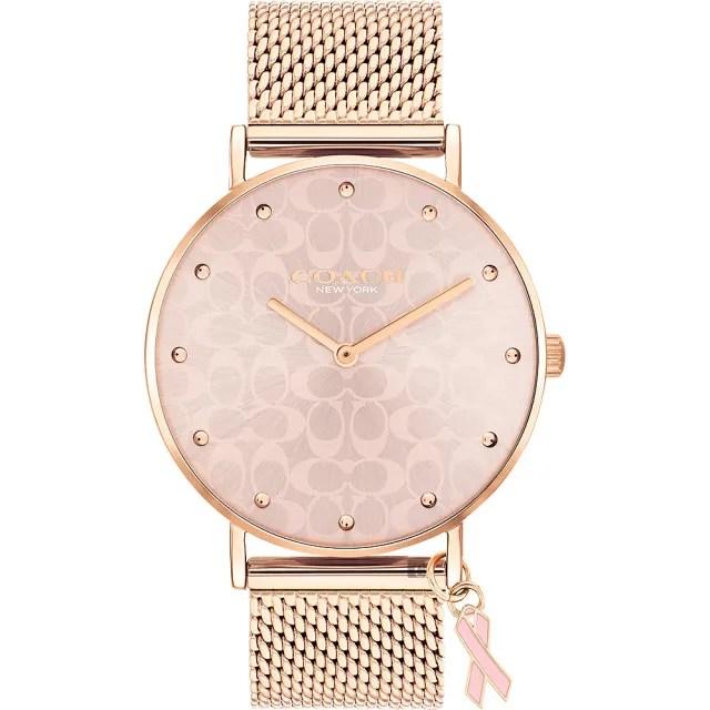 【COACH】Perry 2021年度乳癌防治紀念米蘭女錶-37mm(14503804)