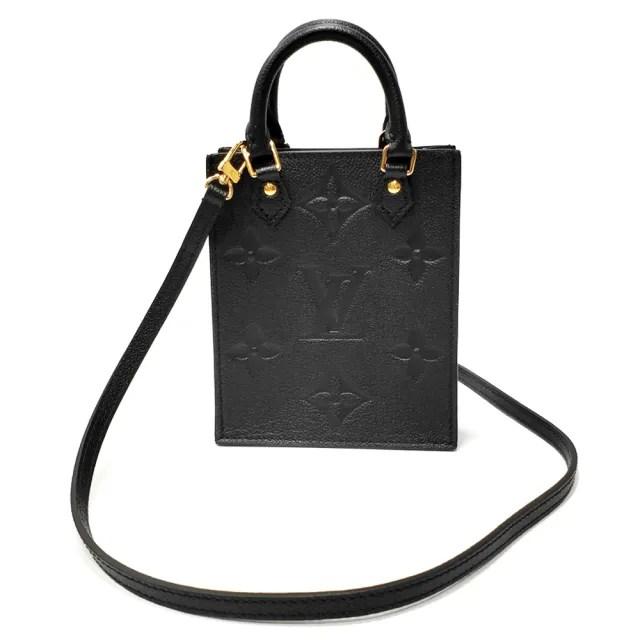 【Louis Vuitton 路易威登】M80478 品牌PETIT SAC PLAT系列柔軟粒面壓紋牛皮迷你手機包/肩背斜背包(黑色)