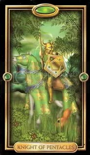 Knight of Pentacles from Ciro Marchetti's Gilded Tarot