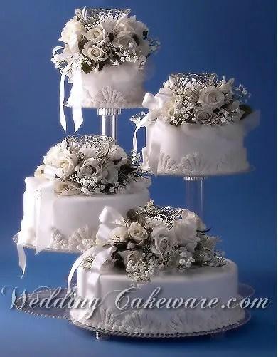 4 TIER CASCADING WEDDING CAKE STAND STANDS SET EBay