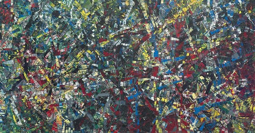 JEAN-PAUL RIOPELLE (1923-2002). Sans titre. Signé et daté 'Riopelle 53' (en bas à droite). Huile sur toile 200 x 300 cm. (78 ¾ x 118 1/8 in.). Peint en 1953. Estimate: €1,500,000 - 2,000,000. Price Realized: €4,882,500. © Christie's Images Ltd, 2017