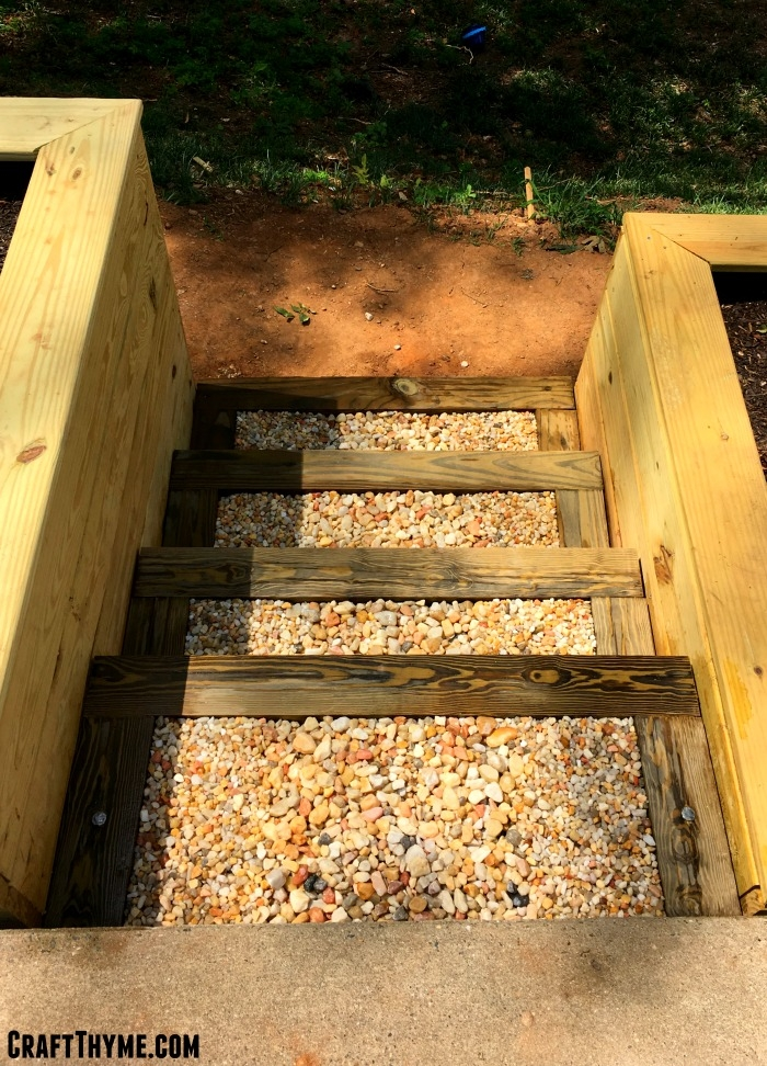 How To Make Timber And Pea Gravel Stairs • The Reaganskopp Homestead   Building Outdoor Steps With Wood   Pea Gravel   Stair Railing   Porch Steps   Composite Decking   Hillside