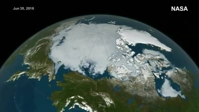 NASA releases video of melting polar ice caps National
