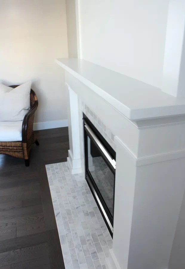 white marble fireplace the makeover
