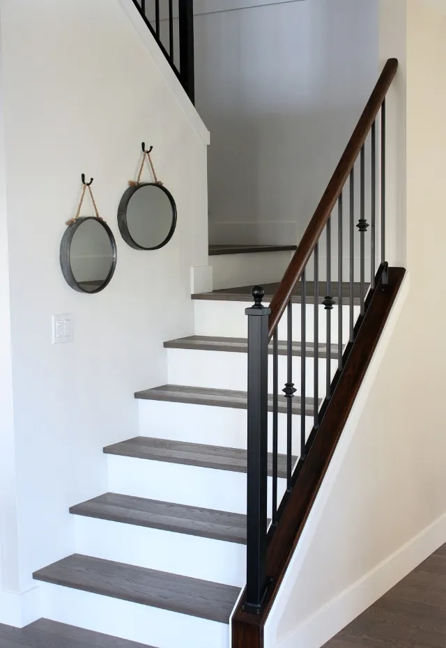 From Carpet To Hardwood Staircase Makeover Satori Design For Living | Dark Wood Stairs With White Risers | Wall | Beautiful Wood | Wooden | Modern | Floor