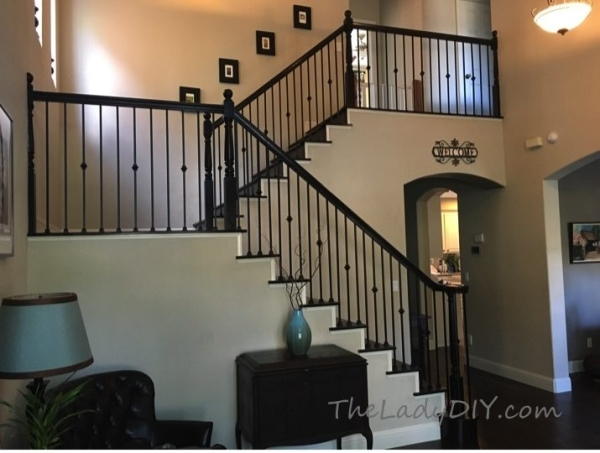How To Install Wrought Iron Spindles The Lady Diy | Iron Stair Railing Indoor | Cast Iron Balusters | Railing Kits | Interior Wrought | Rod Iron | Wood