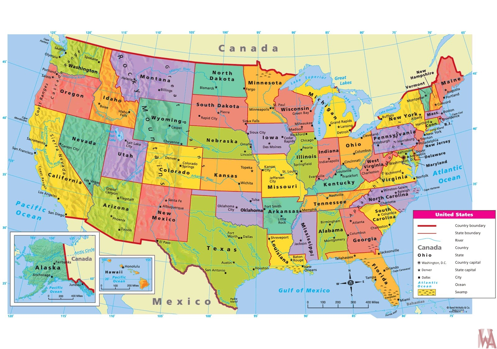 Large Attractive Political Map Of The Usa With Capital And Main Cities Whatsanswer