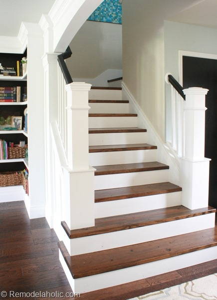 Remodelaholic 60 Carpet To Hardwood Stair Remodel   Carpet Stairs In The Woods   Wilderness   Open Wooden Stair   Glitter   Country House   Traditional