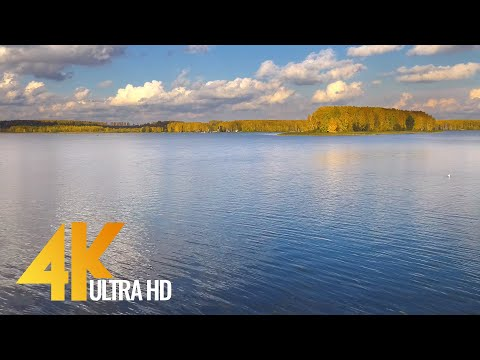Beautiful Autumn Day at Gorky Reservoir, Russia - 4K Nature Relax Video with Nature Sounds (NO LOOP)