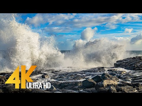 Relaxing Beauty of Ocean Waves in Slow Motion - 4K Nature Relax Video with Ambience Music - 6 HOURS