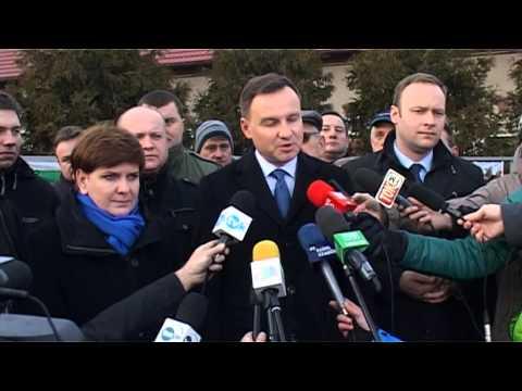 Strajk w kopalni, wizyta Andrzeja Dudy i Beaty Szydło