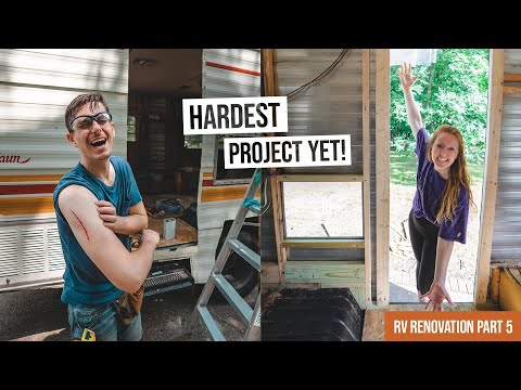 Vintage RV Renovation PART 5! - Completely Rebuilding the Door Frame (This was tough 😅)