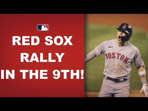 The Red Sox score 4 in the top of the 9th to secure a much-needed win to tie them with the Yankees!